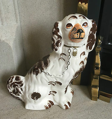 "Dog Fireside Mantle Piece Wally Dog Brown White & Orange 12"" Tall Vgc"