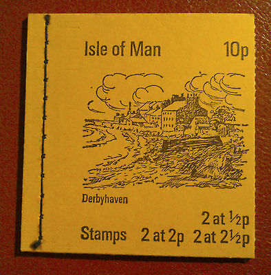 1973 ISLE OF MAN STAMP BOOKLET - Yellow Cover - 10p ISSUE DERBYHAVEN - CAT £12+