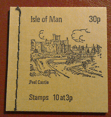 1973 ISLE OF MAN STAMP BOOKLET - Stone Cover - 30p ISSUE PEEL CASTLE - CAT £15+