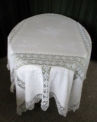 """ANTIQUE TABLECLOTH HAND EMBROIDERY & BOBBIN LACE - 64"""" x 76"""""""