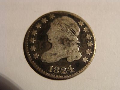 * 1824/2 Bust Dime - nice VG ! Great overdate 4 over 2 !