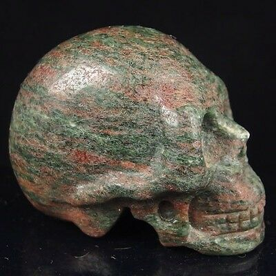 """3"""" hand carved natural jasper skull statue stone carving fh h6047"""