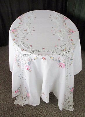 """LARGE TABLECLOTH DECORATED WITH HAND EMBROIDERY & CROCHET-64""""x96"""""""