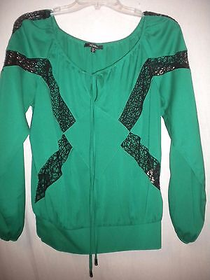 XOXO Womens Size Small Green with Black Lace Long Sleeve Blouse Shirt Top