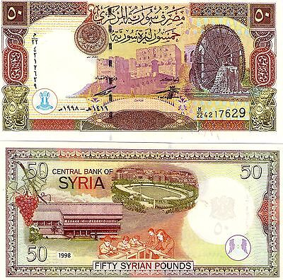 Syria 50 Pounds Banknote Almost Uncirculated, Issued 1998 ,see Description