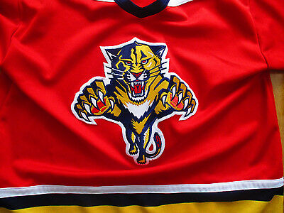 """CCM Florida Panthers HOCKEY JERSEY Men's LARGE chest= 50""""  RED Vintage Canada"""