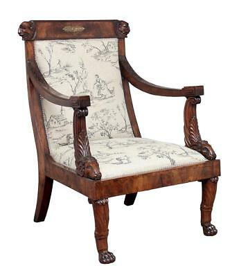 19Th Century Carved Mahogany Regency Armchair