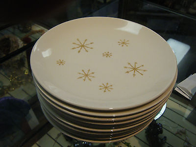 "Lot of 10 MCM Atomic Star Glow, Royal China, 6.5""  Bread & Butter Plates"