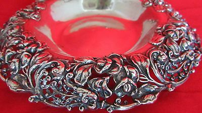 Sterling Silver Ornate Pierced Floral & Swirl Repousse Bowl  125 Grams