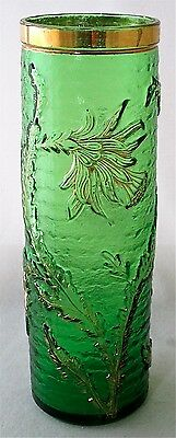 "Gilt green floral art glass vase, 9 1/2"" h."