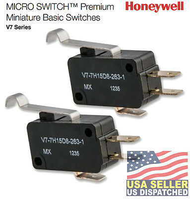 (2PCS) HONEYWELL V7-7H15D8-263-1 Mini Snap Swch,3A,SPDT,Pin NO SEAL PIN PLUNGER