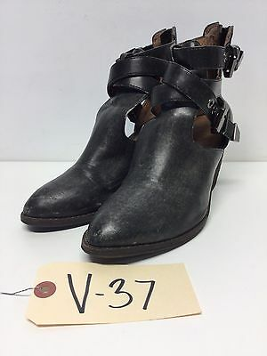 V37 Jeffrey Campbell Everwell Black Leather Ankle Boots Women's Size 6 M