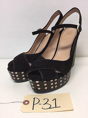 P31 NEW Tory Burch Ollie Wedge Black Suede Sandals Womens Size 10.5