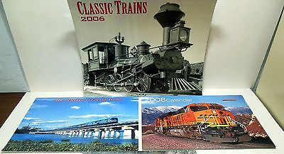 Lot of 3 Railroad Calendars Beautiful Color & Black and White Photos