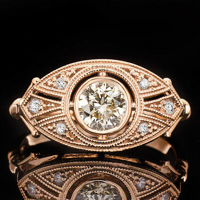 FANCY CHAMPAGNE NATURAL DIAMOND 0.61ctw ENGAGEMENT RING COCKTAIL 14K ROSE GOLD