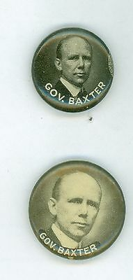 2 Different Vintage 20s Maine Governor Percival Baxter Political Pinback Buttons