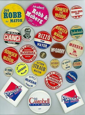 26 Vintage 1930s-90s U.S. Mayor Political Campaign Pinback Buttons Bowser Robb