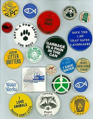 21 Vintage 70s-80s Ecology Animal Rights Pinback Buttons - Join Litter Quitters