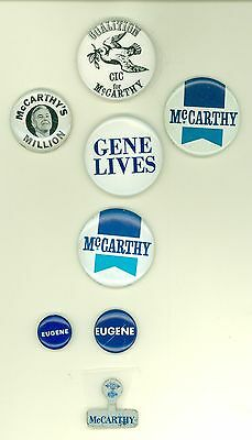 7 Vintage 1968 President Eugene McCarthy Political Pinback Buttons 3 Stickers
