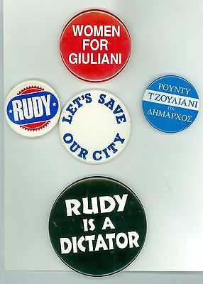 5 Vintage 1990s New York Mayor Rudy Giuliani Political Campaign Pinback Buttons