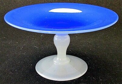 """Stevens and Williams art glass blue cased white compote, 5 7/8"""" d"""
