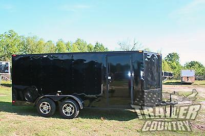 NEW 2017 7x16 BLACKOUT Black Out V Nosed Enclosed Cargo Motorcycle Trailer Ramp