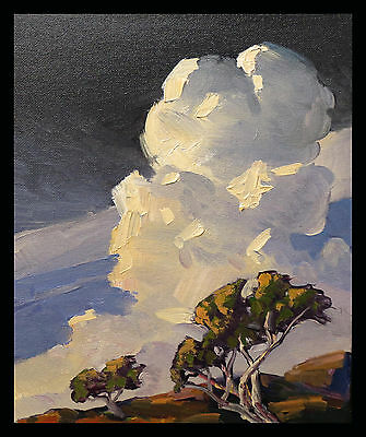 Hawkins Art Signed Oil Painting Original Modern California  Impressionist Clouds