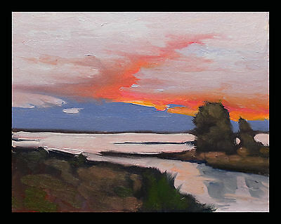 William Hawkins Art Signed Oil Painting Original Impressionism Sunset Clouds  NR