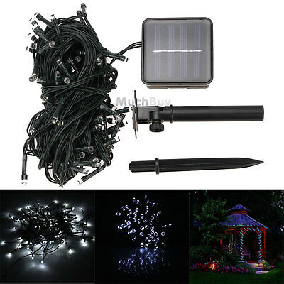 Pure White Solar Powered 100 LED Outdoor Garden String Party Fairy Lights Lamp