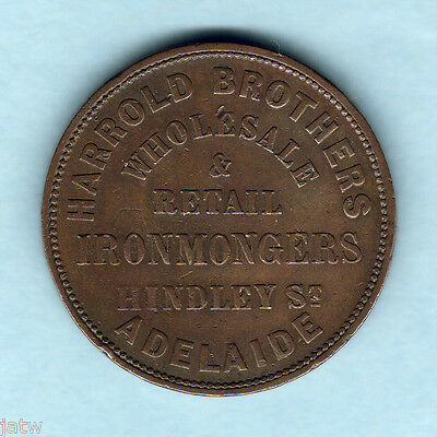 Australia Token.  Harrold Bros - 1858 1d..  Adelaide S.A.   VF - Very Scarce