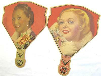 Pair Of 1930 Glamour Girl Hand Held Advertising Fans-Sweet Orchids & Honey Girl