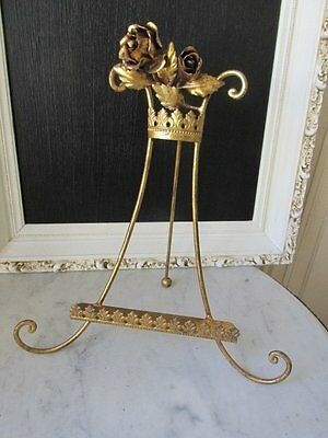 EXQUISITE Old Italian Tole EASEL DISPLAY STAND ROSES at Top Very Ornate Details