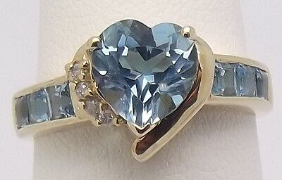 Solid 10Ct Yellow Gold Natural Diamond & Blue Stone Dress Ring