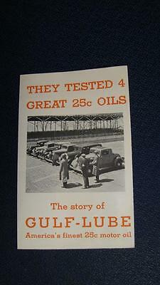 1933 Gulf Oil  The Story of Gulf-Lube Motor Oil Advertising Brochure NOS MINT