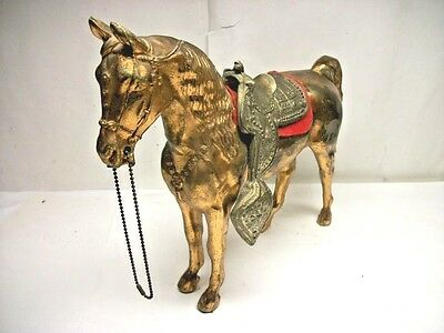 Vintage Brass Plated Metal Horse Figurine Statue w / Removable Saddle