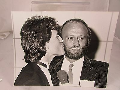 Vintage Original Publicity Photo 1984 Andy Gibb Kissing Maurice Gibb Bee Gees