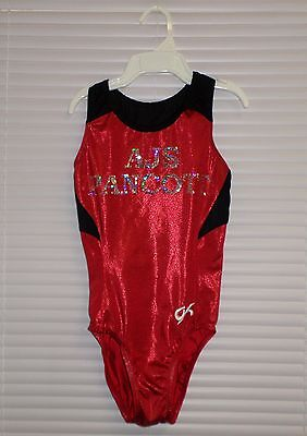 GK Elite RED Metallic Leotard Size Adult Medium Team AJS PANCOTT