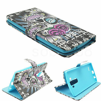 Skull Phone Print Leather Flip Card Wallet Purse Cover Case For LG G4