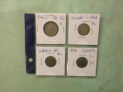 World Lot of 4 Silver coins