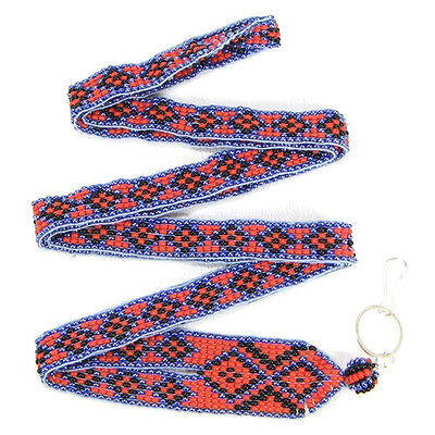 Red Blue Seed Beaded Native American Inspired Lanyard Id Holder I-18/6