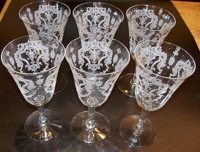 6 Morgantown Elegant Glass Virginia Etch Claret Wine Stem Goblets 6 3/4 inch