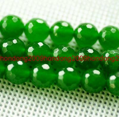 """AAA 8mm Faceted Round Emerald Loose Beads Gemstone 15"""""""