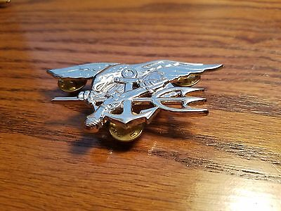US Navy Special Warfare SEAL Team Silver Insignia Metal Badge - Full Size #293