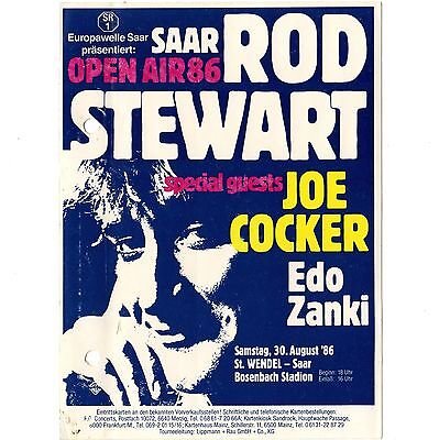 ROD STEWART & JOE COCKER & EDO ZANKI Concert Ticket Sticker 8/30/86 SAAR GERMANY