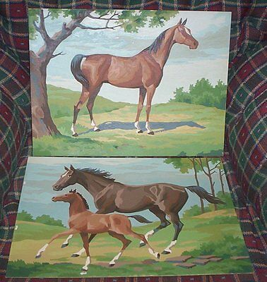 Lot of 2 Horse Pony Horses Paint By Number Paintings approximately 12 x 16 inch