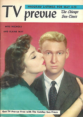 Comedy Team MIKE NICHOLS and ELAINE MAY 1958 Chicago Sun-Times TV GUIDE Magazine