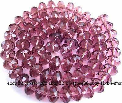 Cut 7x10mm Purple Glass Quartz Rondelle Faceted Beads 15""