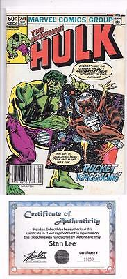 Incredible Hulk #271 Signed By Stan Lee Marvel 1St Rocket Raccoon Gotg Movie Coa