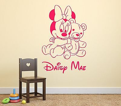 Baby Minnie Mouse & Teddy Bear Personalised Name Wall Art Mural Decal Sticker