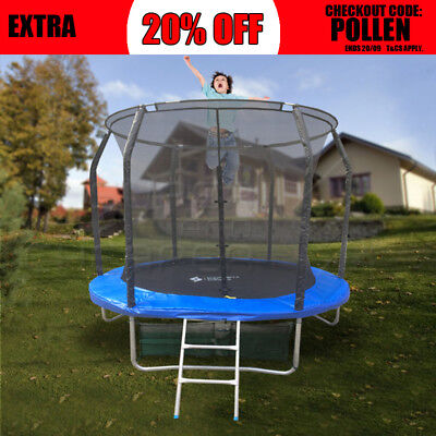 8FT ROUND SPRING TRAMPOLINE With Ladder Safety Net Enclosure Mat 8ft